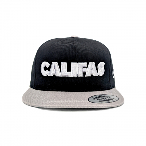 Pachuco snapback silver_black puff print front