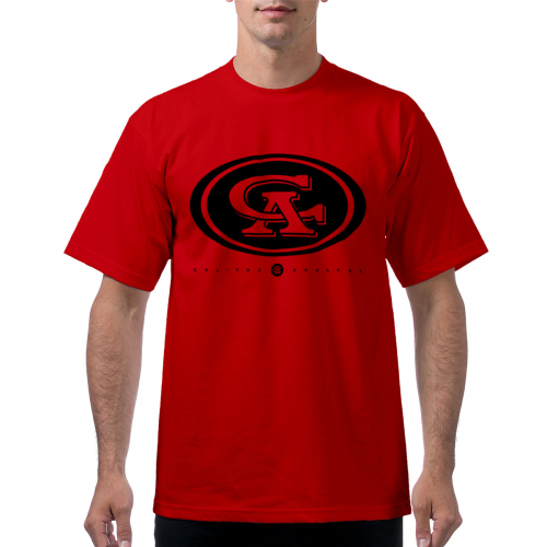 tshirt ProClub San Pancho oval black on red